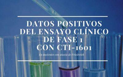 Datos positivos del ensayo clínico de fase 1 con CTI-1601 en pacientes con ataxia de Friedreich